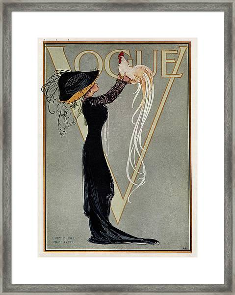 Vintage Vogue Cover Of Woman With Rooster Framed Print