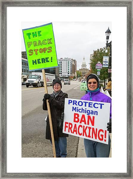 Anti-fracking Protest Framed Print