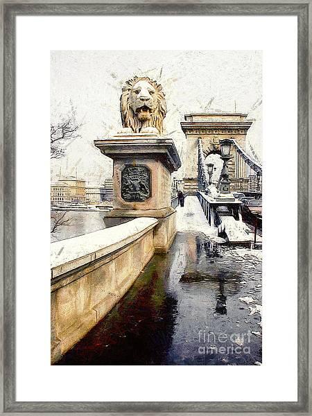Chain Bridge In Budapest Framed Print