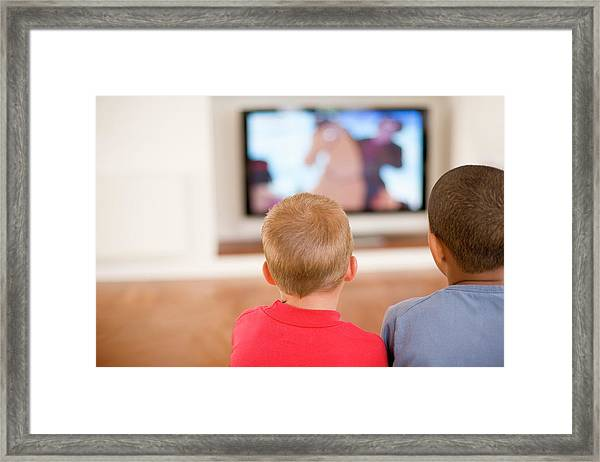 Children Watching Television Framed Print by Ian Hooton/science Photo Library