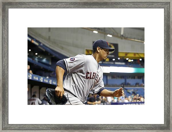 Cleveland Indians V Tampa Bay Rays Framed Print by Brian Blanco