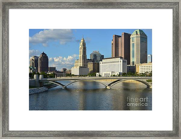 Columbus Ohio Skyline Photo Framed Print