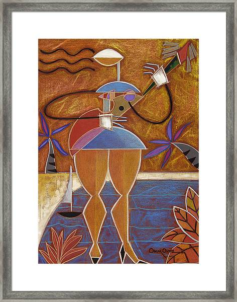 Framed Print featuring the painting Cuatro Caliente by Oscar Ortiz