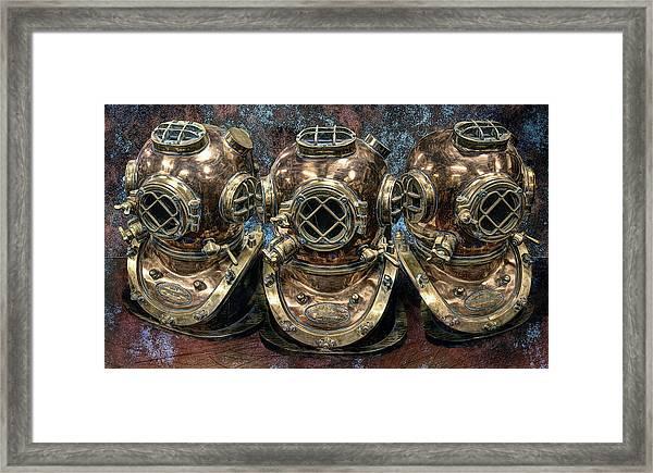 3 Deep-diving Helmets Framed Print