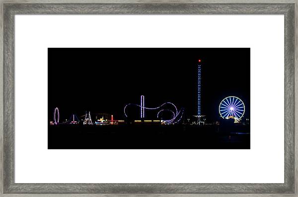 Galveston Texas Pleasure Pier At Night Framed Print