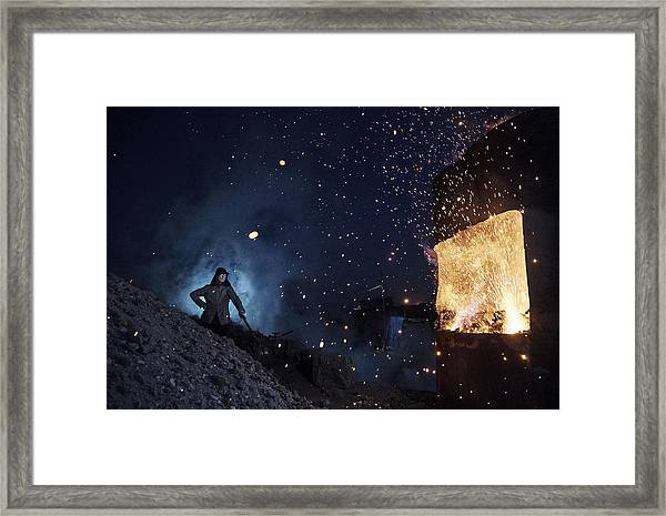 Illegal Steel Factories Dodge China Emissions Laws Framed Print by Kevin Frayer