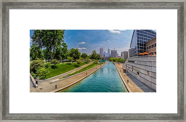 Indianapolis Skyline From The Canal Framed Print