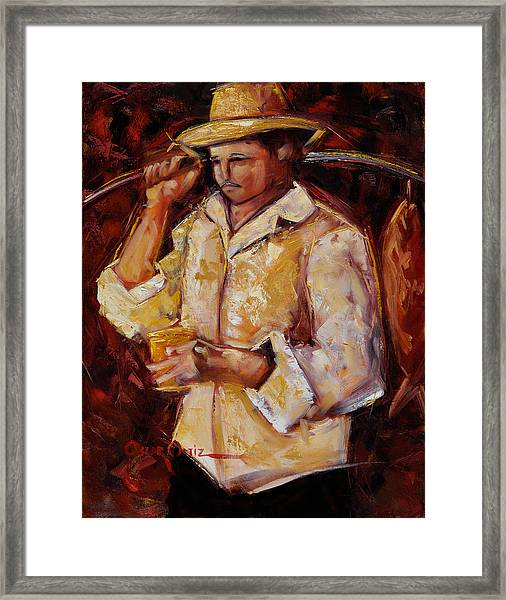 Framed Print featuring the painting Jibaro De La Costa by Oscar Ortiz