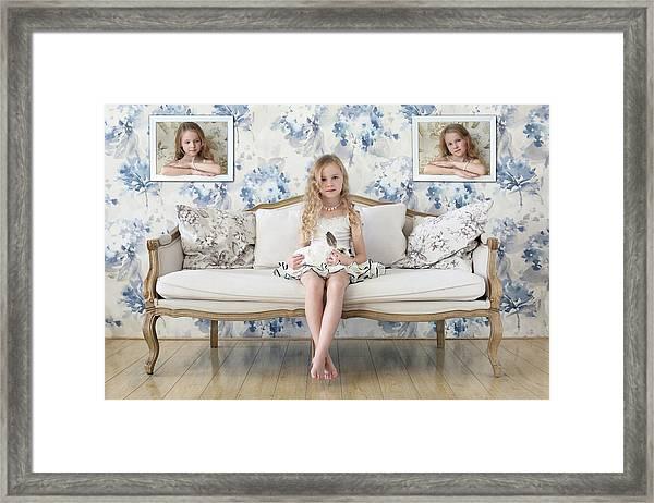 3 Little Girls And A White Rabbit Framed Print by Victoria Ivanova