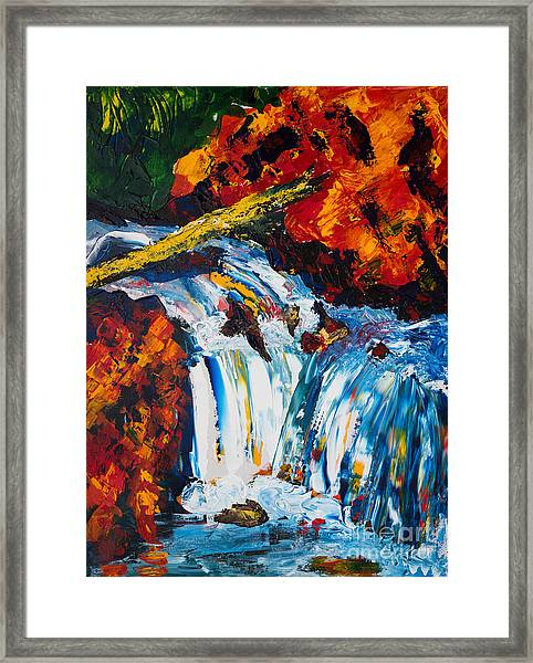 Log And Waterfall Framed Print