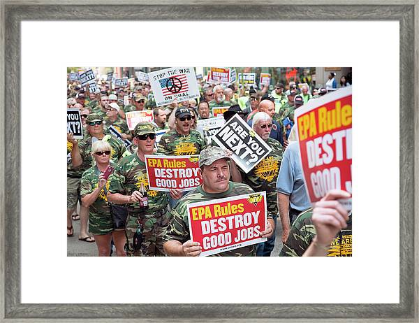 Miners Rally Against Coal Burning Limits Framed Print