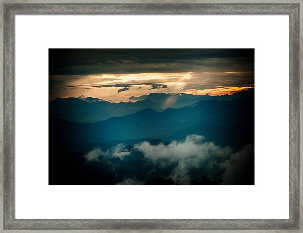 Framed Print featuring the photograph Panaramic Sunset Himalayas Mountain Nepal by Raimond Klavins
