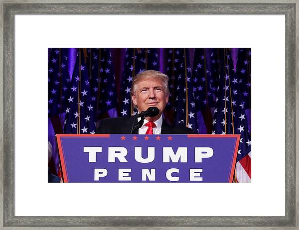 Republican Presidential Nominee Donald Trump Holds Election Night Event In New York City Framed Print by Chip Somodevilla