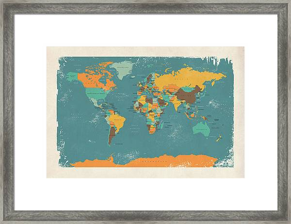 Retro Political Map Of The World Framed Print