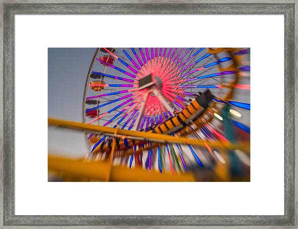 Santa Monica Pier Ferris Wheel And Roller Coaster At Dusk Framed Print