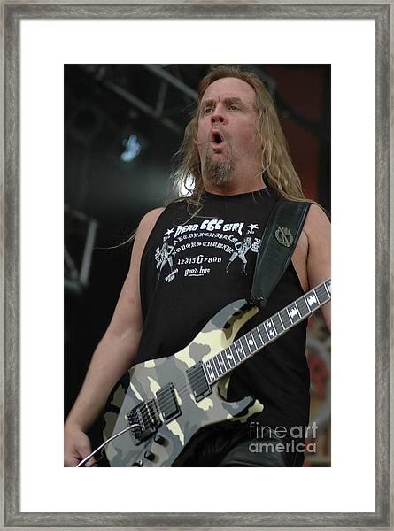 Slayer Jeff Hanneman Framed Print by Jenny Potter