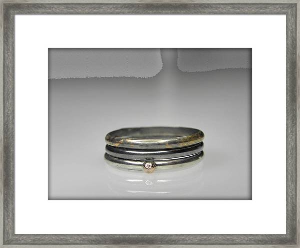 3 Stacking Silver Rings With 14k And 24k Gold Framed Print by Vesna Kolobaric