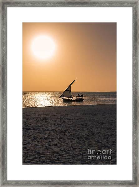 Sunset In Zanzibar Framed Print by Pier Giorgio Mariani