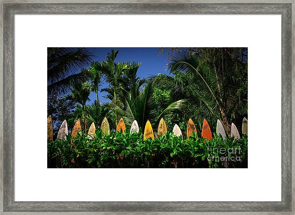 Framed Print featuring the photograph Surf Board Fence Maui Hawaii by Edward Fielding