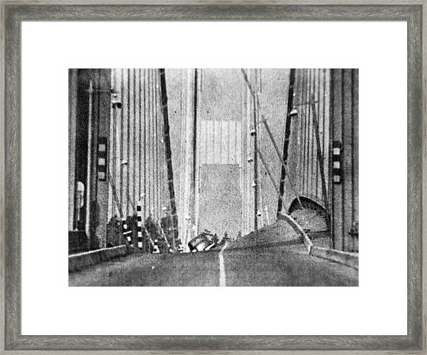 Tacoma Narrows Bridge Collapse Framed Print