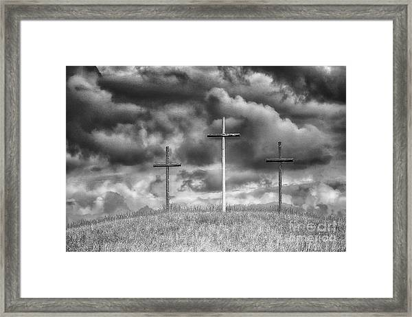 Three Crosses On Hill Framed Print