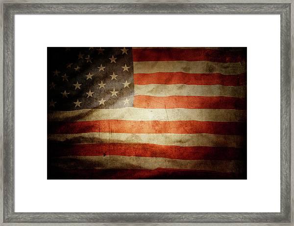 American Flag Rippled Framed Print