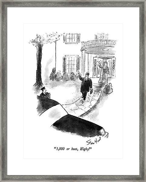 3,000 Or Bust, Higby! Framed Print