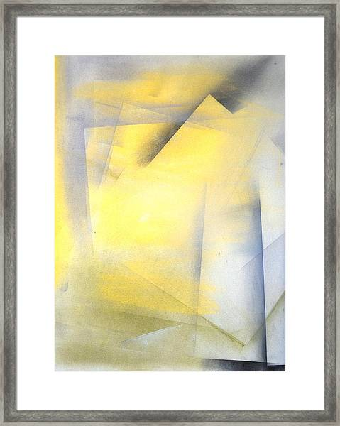 Raise The Bar - Grey And Yellow Abstract Art Painting Framed Print