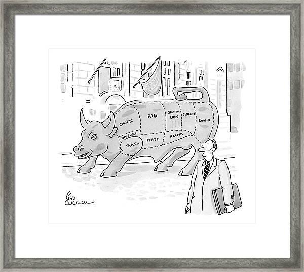 Wallstreet Bull Framed Print