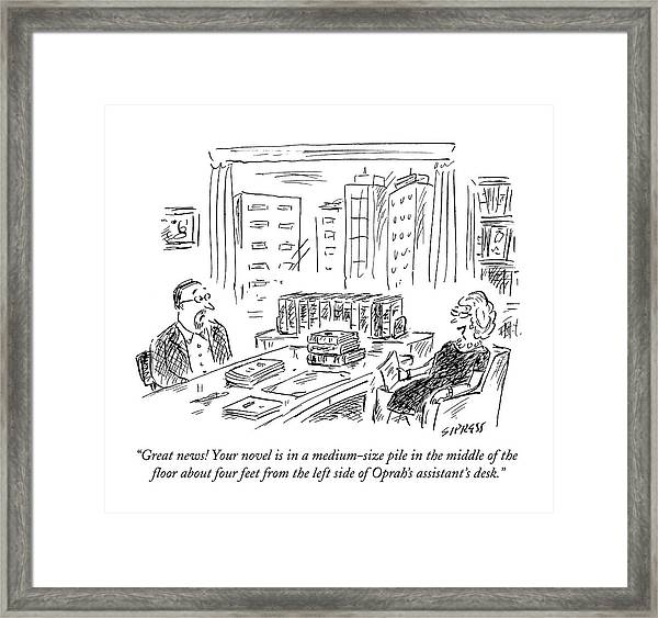 Great News! Your Novel Is In A Medium-size Pile Framed Print