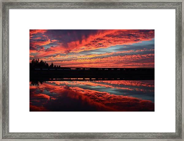 3d Sunset Framed Print