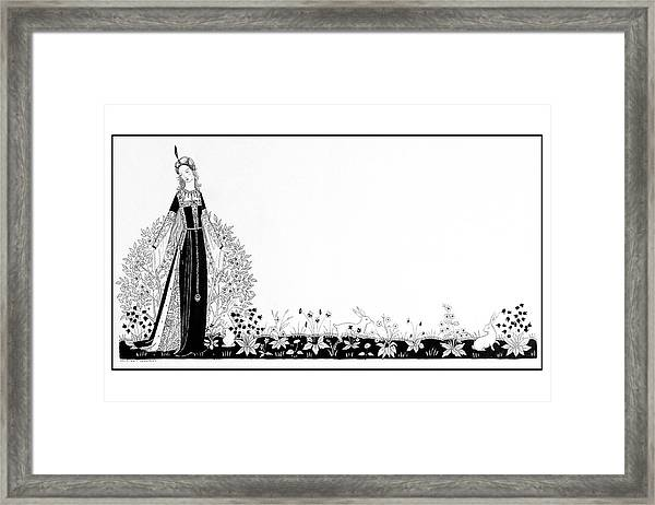 A Person Modeling A Historical Costume Framed Print by Claire Avery