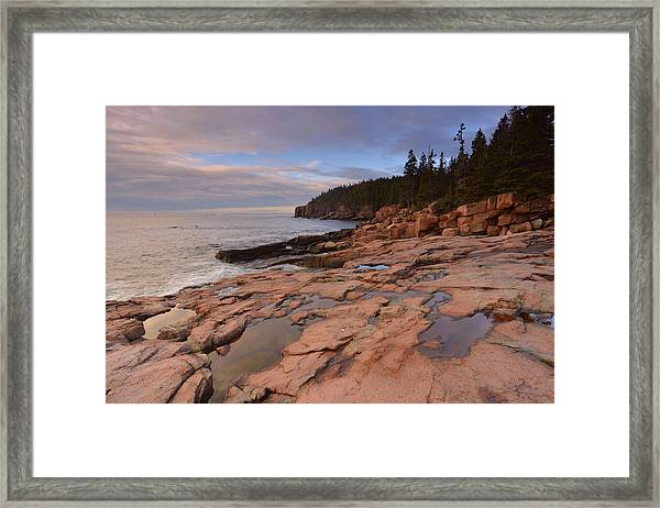 Acadia Sunrise Framed Print by Stephen  Vecchiotti