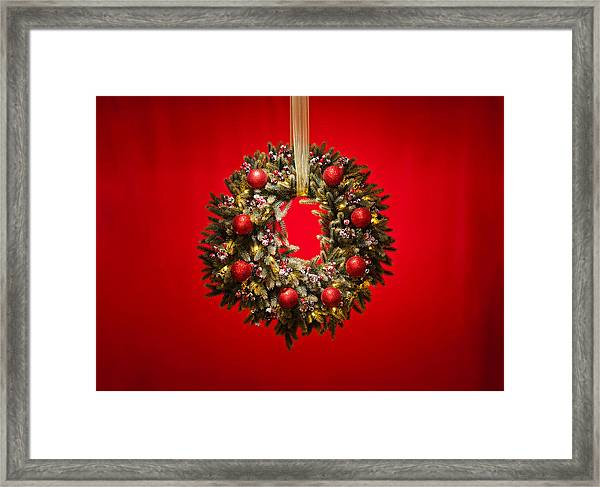 Advent Wreath Over Red Background Framed Print