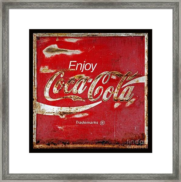 Coca Cola Vintage Rusty Sign Black Border Framed Print