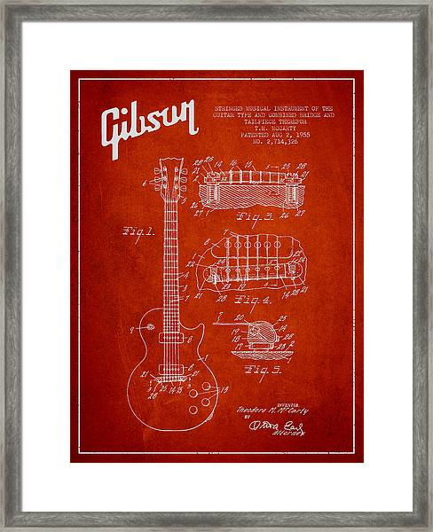 Mccarty Gibson Les Paul Guitar Patent Drawing From 1955 - Red Framed Print
