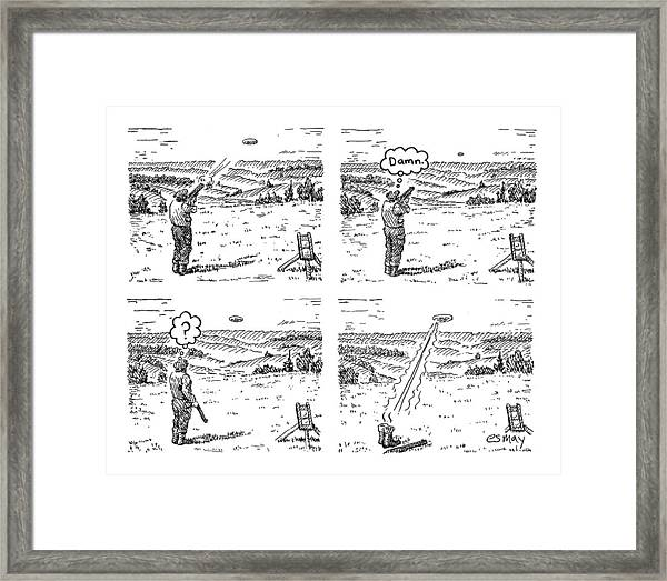 4 Panels.  Man Shoots At A Grout Which Then Turns Framed Print
