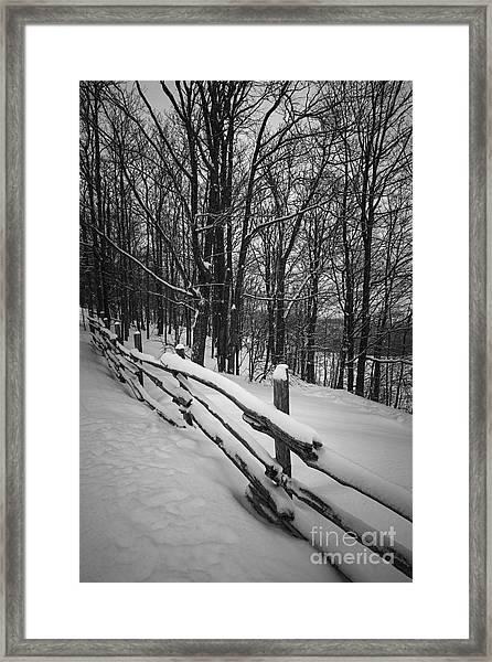 Rural Winter Scene With Fence Framed Print