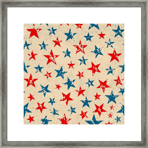 Seamless Pattern For 4th Of July Framed Print by Allies Interactive