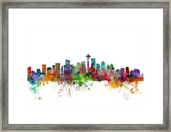 Seattle Washington Skyline Framed Print