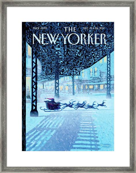 New Yorker December 19th, 2011 Framed Print by Eric Drooker