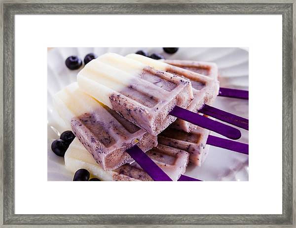 Vanilla And Blueberry Popsicles Framed Print