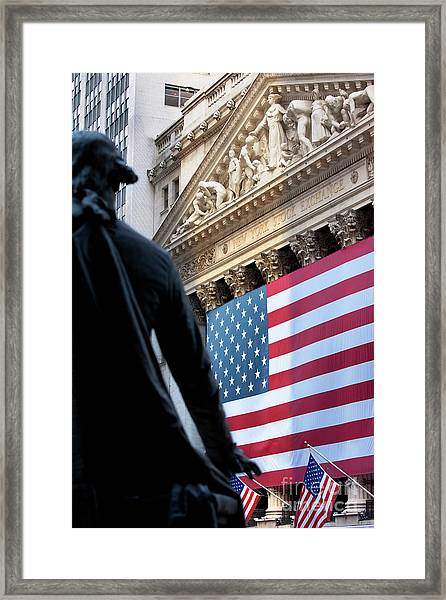 Framed Print featuring the photograph Wall Street Flag by Brian Jannsen