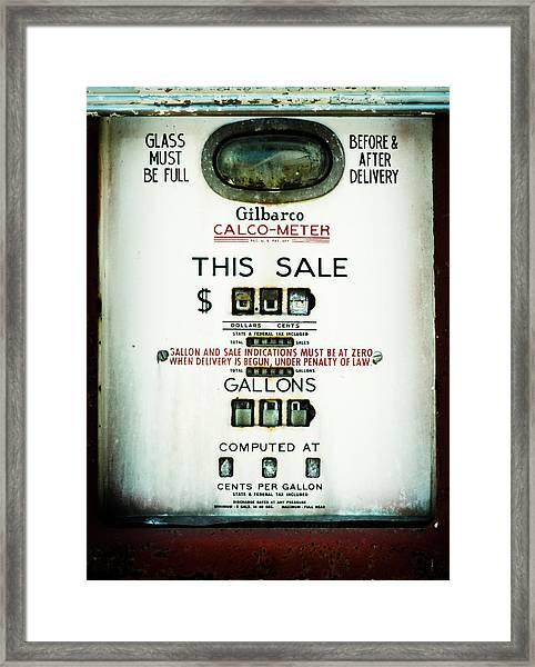 45 Cents Per Gallon Framed Print