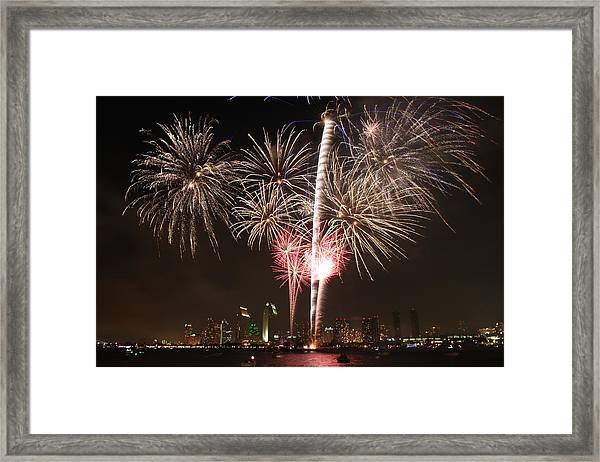 4th Of July Fireworks Over Downtown San Diego Framed Print