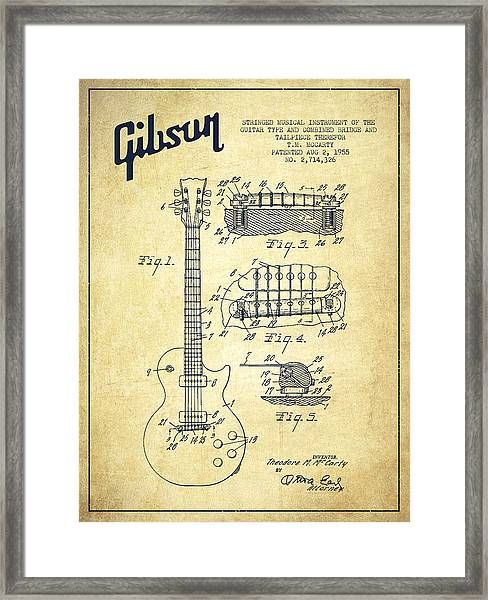 Mccarty Gibson Les Paul Guitar Patent Drawing From 1955 - Vintage Framed Print