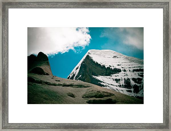 Mount Kailash Western Slope Home Of The Lord Shiva Framed Print