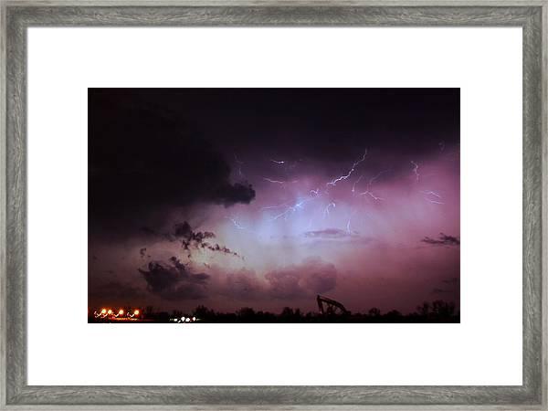 Our 1st Severe Thunderstorms In South Central Nebraska Framed Print
