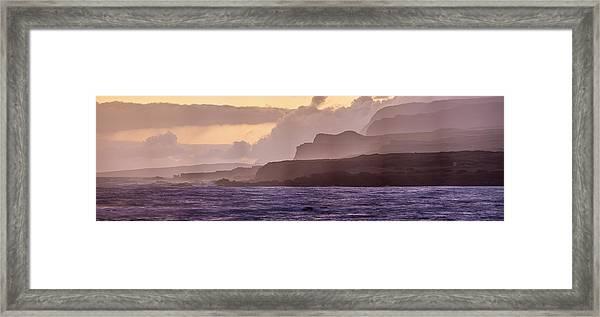 Panoramic Of Molokais North Shore Sea Framed Print