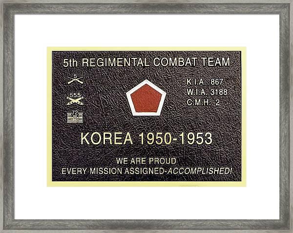 5th Regimental Combat Team Arlington Cemetary Memorial Framed Print